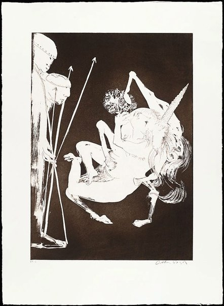 An image of (Illustration 1 for Peter Porter's poem 'The unicorn before the emperor') by Arthur Boyd