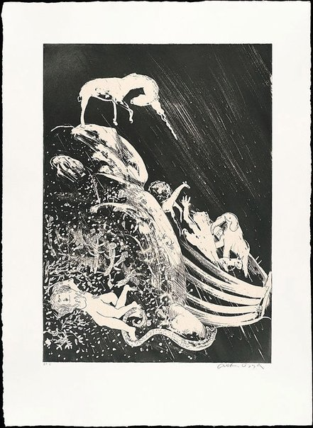 An image of (Illustration for Peter Porter's poem 'The unicorn and the ark') by Arthur Boyd