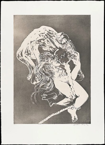 An image of (Illustration for Peter Porter's poem 'The lady's bridal night') by Arthur Boyd