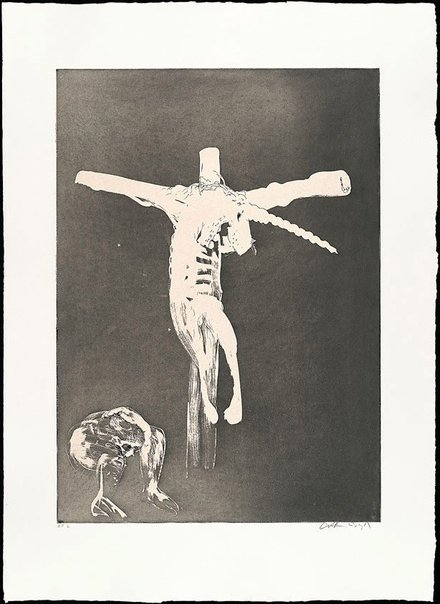 An image of (Illustration for Peter Porter's poem 'Christ names His cross for the unicorn') by Arthur Boyd
