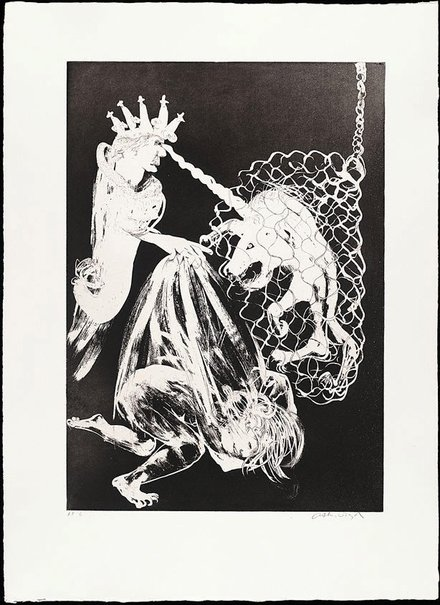 An image of (Illustration 2 for Peter Porter's poem 'Enter the Emperor') by Arthur Boyd