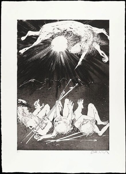 An image of (Illustration 2  for Peter Porter's poem 'The hunters set out to trap the unicorn') by Arthur Boyd