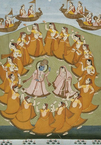 An image of Krishna and Radha dancing the Rasalila by