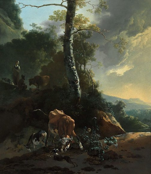 An image of Landscape with enraged ox by Adam Pynacker