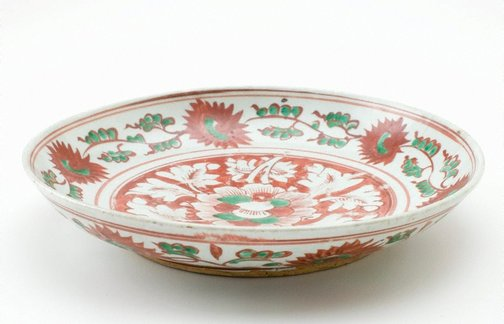 An image of Dish decorated with floral motifs by Export ware