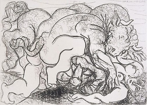 An image of Minotaur attacking an Amazon by Pablo Picasso