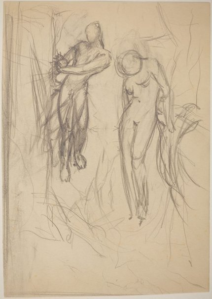 An image of Studies for 'Captives in a threatening landscape' (2 versions) (Compositional study - main male and female figures) by James Gleeson