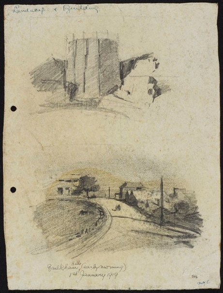 An image of recto: Home, Baulkham Hills verso: Gas tank, Wollstonecraft Bay and Baulkham Hills, early morning by Lloyd Rees