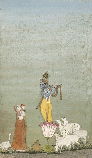 An image of Krishna serenading Radha by