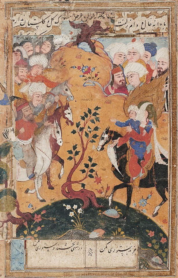 An image of Husayn faces Yazid's army