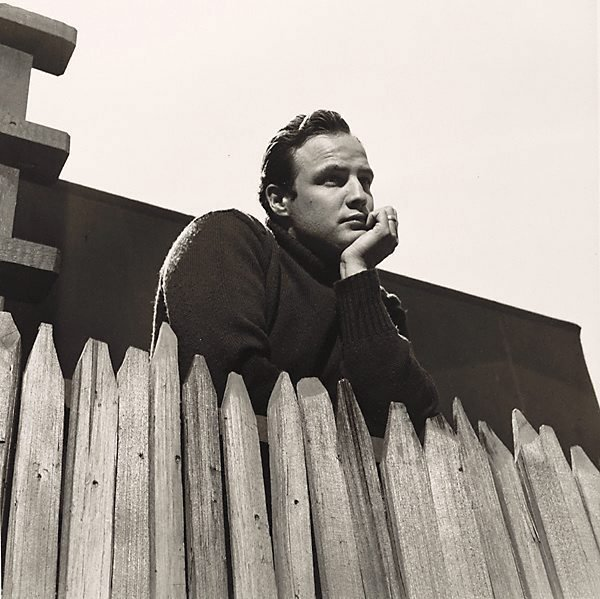 An image of Marlon Brando looks over the fence of his Beverley Glen home