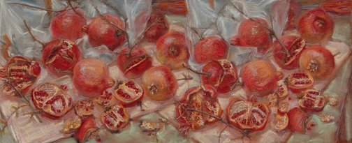 An image of Scribble rock pomegranates (diptych) by Janet Dawson