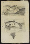 Alternate image of recto: Eucalypts and Summer evening (2 studies) verso: Harbour sketch [top] and Three arched building, Sydney Harbour [bottom] by Lloyd Rees