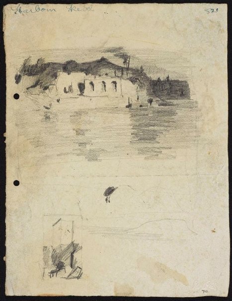 An image of A building with three arches, Sydney Harbour [top] and Sketch of a tower [bottom] by Lloyd Rees