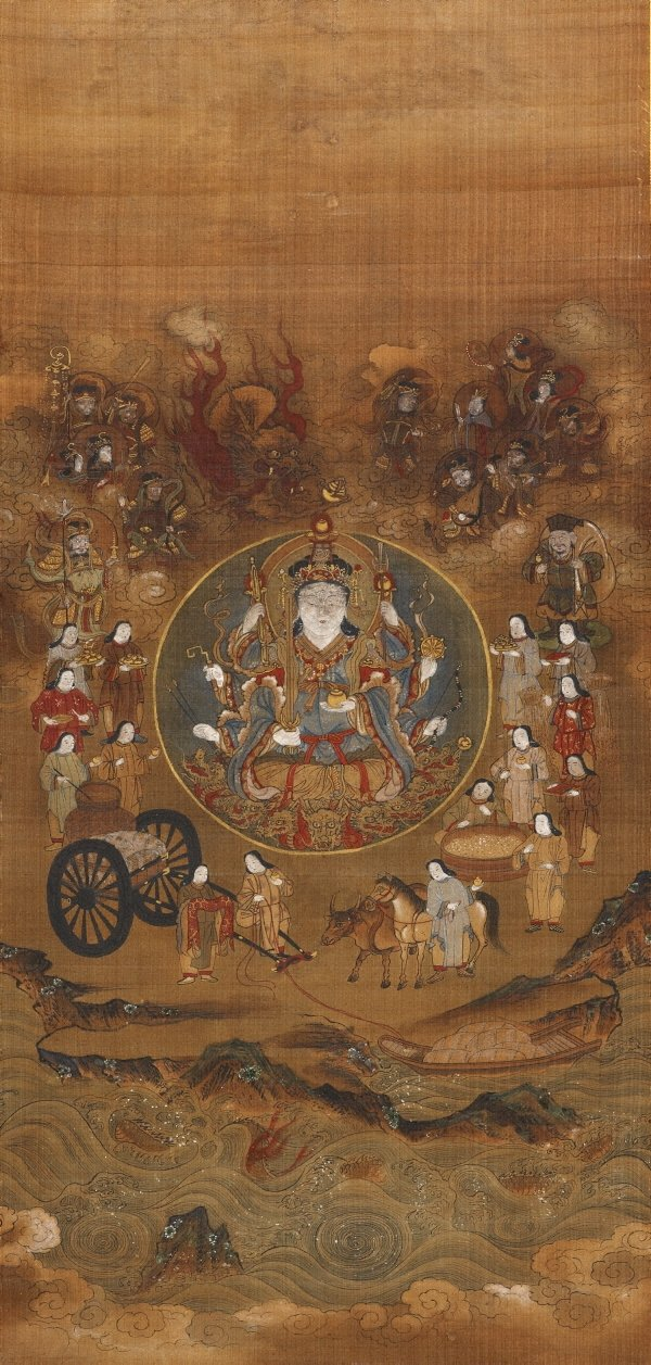 An image of Uga Benzaiten and her fifteen attendants ('dōji')