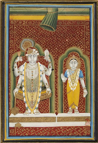 An image of Vishnu with consort by