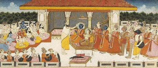 An image of Rama and Sita enthroned at Ayodhya by