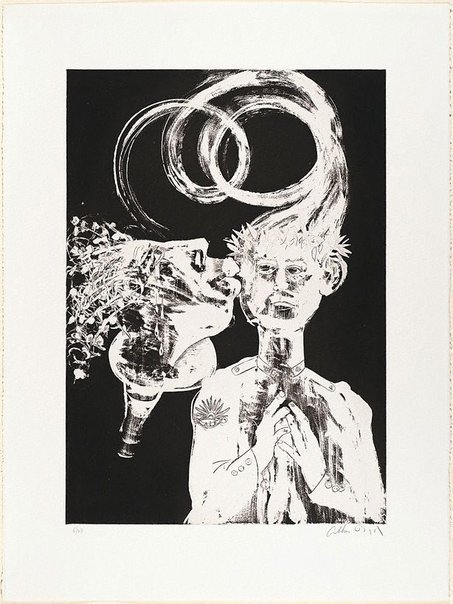 An image of (Illustration for Peter Porter's poem 'Narcissus amongst the anthropologists') by Arthur Boyd