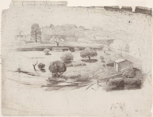 An image of recto: Trees, shed and houses verso: Hillside landscape by Lloyd Rees