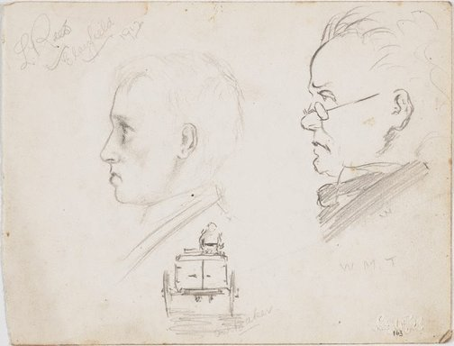 An image of recto: Young man, Man in glasses, W.M.T., and Our baker verso: Cricketer and Profile of the cricketer by Lloyd Rees