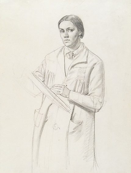 An image of Self portrait with smock by Nora Heysen