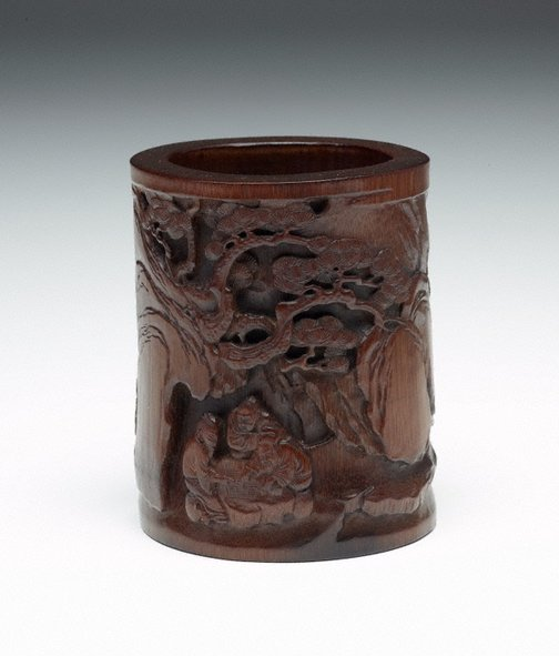 An image of Bamboo Brush pot decorated with the scene from the story 'News of Victory at Dongshan' in low relief by