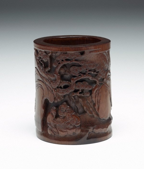 An image of Bamboo Brush pot decorated with the scene from the story 'News of Victory at Dongshan' in low relief