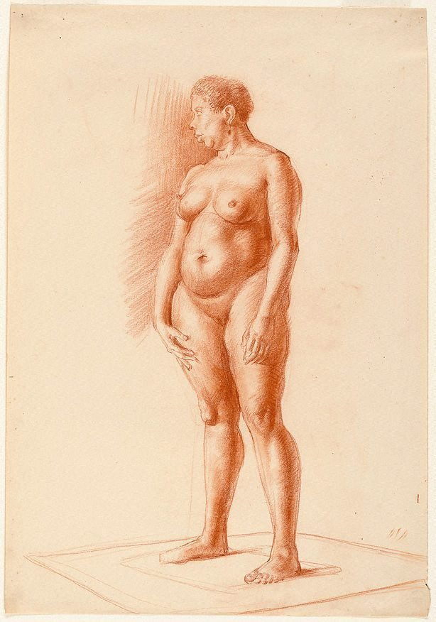An image of Standing female nude, Central school, London