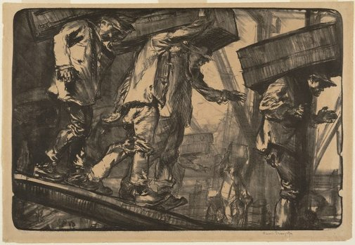 An image of Unloading oranges at London Bridge by Sir Frank Brangwyn