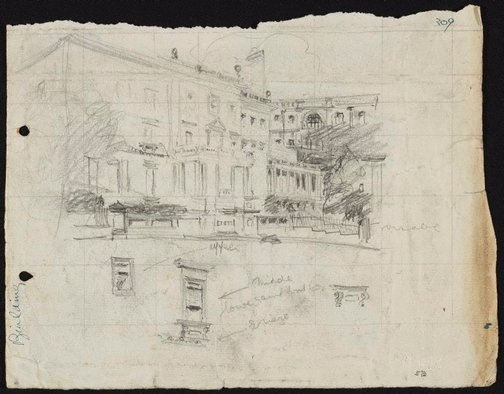 An image of recto: The Union Club, 2 Bligh Street, Sydney verso: Composition sketch of hill with houses by Lloyd Rees