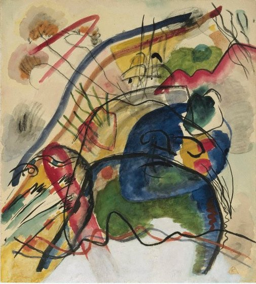 An image of Study for 'Painting with white border' by Vasily Kandinsky