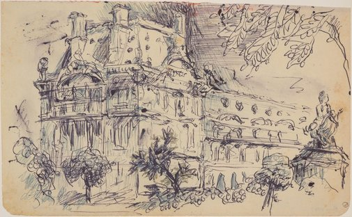 An image of Three sketchbook studies, Paris (The Louvre) by James Gleeson