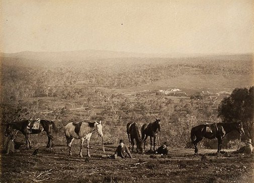 An image of Homestead in distance, men and horses resting in foreground by Charles Bayliss