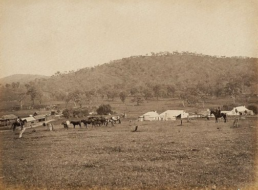 An image of View of property buildings, stockmen and cattle in foreground by Charles Bayliss