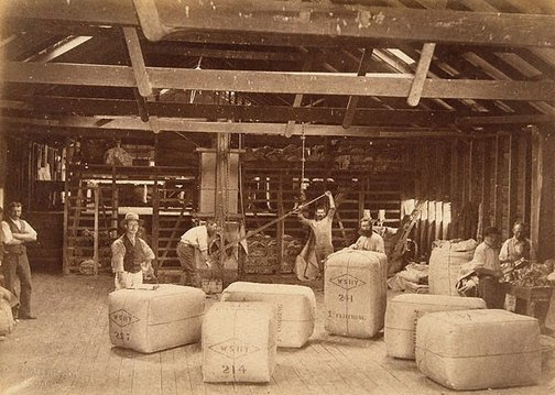 An image of Pressing wool bales by Charles Bayliss
