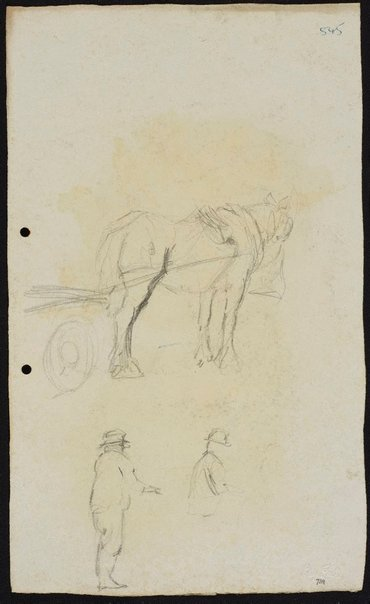 An image of recto: Horse and dray [top] and Two men [bottom] verso: Two horses by Lloyd Rees