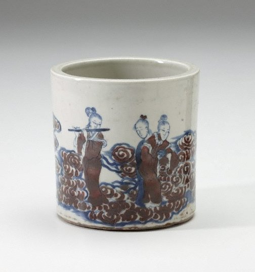 An image of Ceramic brush pot decorated with female musicians among clouds by
