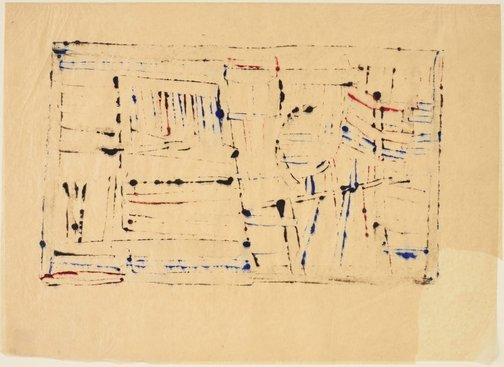 An image of Untitled (black and blue bands, with red) by Sidney Nolan