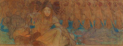 An image of Study for a mural by Alphonse Mucha