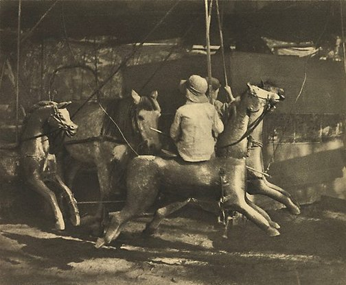 An image of Old time merry-go-round by Harold Cazneaux