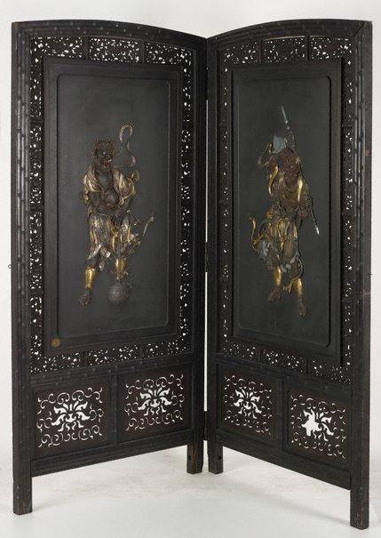 An image of Folded wooden screen with inlaid decoration by Meiji export crafts