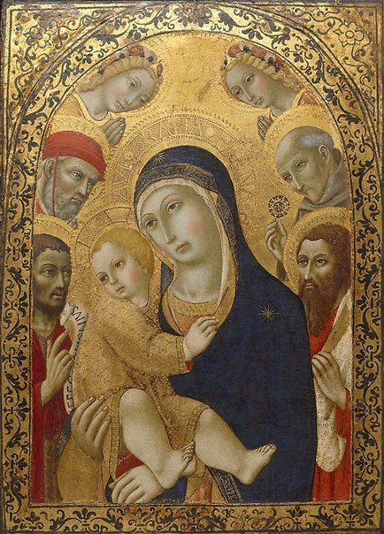 An image of Madonna and Child with Saints Jerome, John the Baptist, Bernardino and Bartholomew by Sano di Pietro