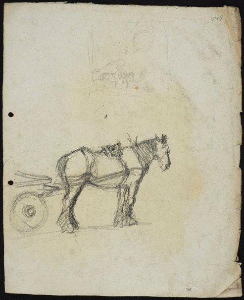 An image of recto: Cart horse verso: Horse and dray by Lloyd Rees
