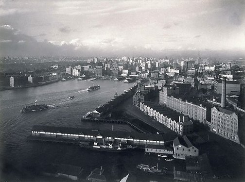 An image of Sydney from Harbour Bridge pylon by Max Dupain