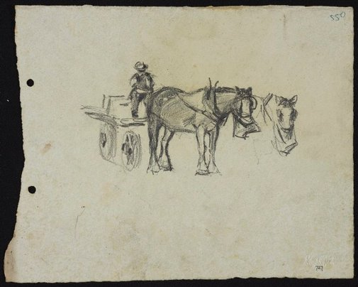An image of Horse with man in dray by Lloyd Rees