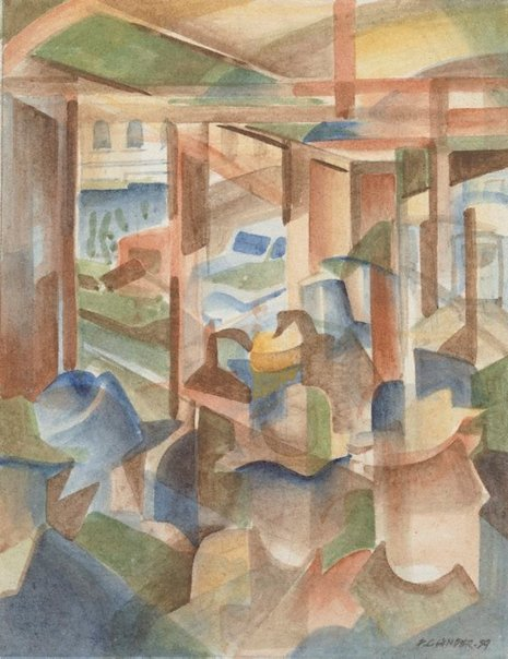 An image of In the tram (Study for Tram kaleidoscope) by Frank Hinder