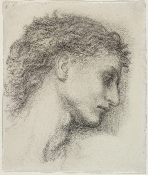 An image of Study for the head of Saint George for Saint George slaying the dragon by Edward Burne-Jones