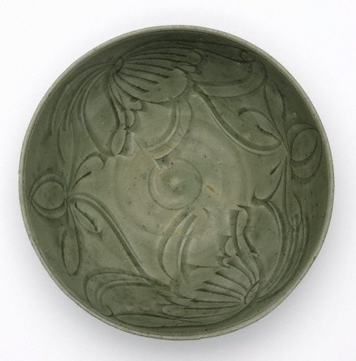 An image of Celadon bowl with carved floral design by Export ware (South East Asia market)