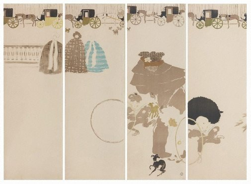 An image of Nannies' promenade, frieze of carriages by Pierre Bonnard