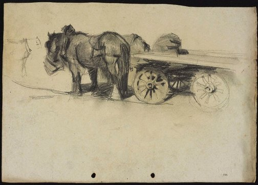 An image of Clydesdales with a dray by Lloyd Rees